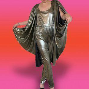 Vintage 80s I. Magnin Lilli Ann Silver Jumpsuit